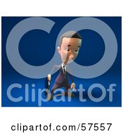 Royalty Free RF Clipart Illustration Of A 3d Short Businessman Character Pouting Version 2