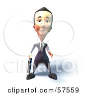 Royalty Free RF Clipart Illustration Of A 3d Short Businessman Character Reaching Out To Shake Hands Version 4