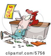 Employee Trampled During A Sale Clipart Illustration