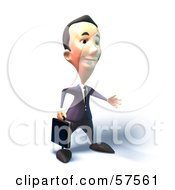 Royalty Free RF Clipart Illustration Of A 3d Short Businessman Character Reaching Out To Shake Hands Version 5