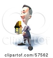 Royalty Free RF Clipart Illustration Of A 3d Short Businessman Character Holding Out A Golden Home Version 5