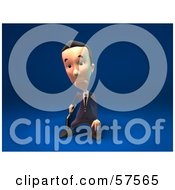 Royalty Free RF Clipart Illustration Of A 3d Short Businessman Character Pouting Version 3 by Julos
