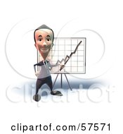 Royalty Free RF Clipart Illustration Of A 3d Short Businessman Character Discussing Statistics Version 5