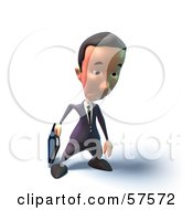 Royalty Free RF Clipart Illustration Of A 3d Short Businessman Character Pouting Version 5 by Julos