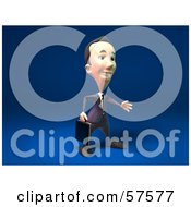 Royalty Free RF Clipart Illustration Of A 3d Short Businessman Character Reaching Out To Shake Hands Version 2