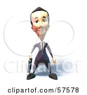 Royalty Free RF Clipart Illustration Of A 3d Short Businessman Character Standing And Facing Front Version 1