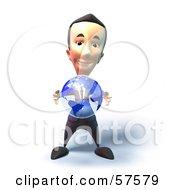 3d Short Businessman Character Holding A Globe - Version 3
