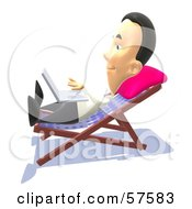 Royalty Free RF Clipart Illustration Of A 3d Man Sun Bathing And Using A Laptop Version 2