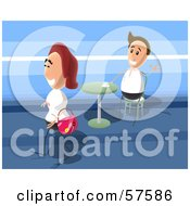 Royalty Free RF Clipart Illustration Of A Man In A Cafe Waving At A Walking Woman