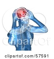 3d Blue Body Character With A Migraine - Version 5