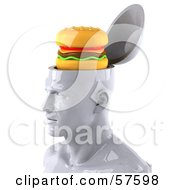 3d White Male Head Character With A Cheeseburger - Version 1
