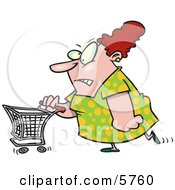 Stressed Out Woman Pushing A Shopping Cart Clipart Illustration