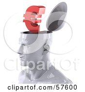 Royalty Free RF Clipart Illustration Of A 3d White Male Head Character With A Euro Symbol by Julos