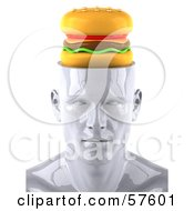 Royalty Free RF Clipart Illustration Of A 3d White Male Head Character With A Cheeseburger Version 2