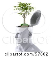 Royalty Free RF Clipart Illustration Of A 3d White Male Head Character With A Plant Version 2