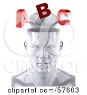 3d White Male Head Character With Red Letters - Version 1