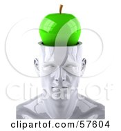 Royalty Free RF Clipart Illustration Of A 3d White Male Head Character With A Green Apple by Julos