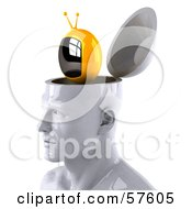 Royalty Free RF Clipart Illustration Of A 3d White Male Head Character With A TV Version 2