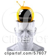 Royalty Free RF Clipart Illustration Of A 3d White Male Head Character With A TV Version 1