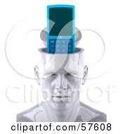 Royalty Free RF Clipart Illustration Of A 3d White Male Head Character With A Cell Phone by Julos