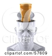 Royalty Free RF Clipart Illustration Of A 3d White Male Head Character With A Beer Version 1