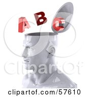 Royalty Free RF Clipart Illustration Of A 3d White Male Head Character With Red Letters Version 2 by Julos