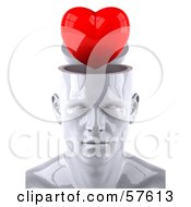 Royalty Free RF Clipart Illustration Of A 3d White Male Head Character With A Red Heart by Julos