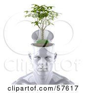 Royalty Free RF Clipart Illustration Of A 3d White Male Head Character With A Plant Version 1 by Julos