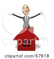 Royalty Free RF Clipart Illustration Of A 3d White Corporate Businessman Character Standing Behind A House by Julos