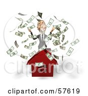 Royalty Free RF Clipart Illustration Of A 3d White Corporate Businessman Character Throwing Money And Standing Behind A House by Julos