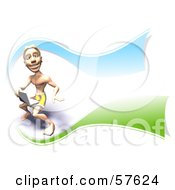 Royalty Free RF Clipart Illustration Of A 3d Surfer Dude Using A Laptop Version 3