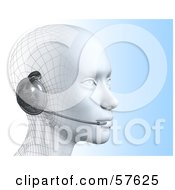 Royalty Free RF Clipart Illustration Of A 3d Customer Service Head Wearing A Headset Version 4