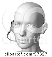 Royalty Free RF Clipart Illustration Of A 3d Customer Service Head Wearing A Headset Version 7