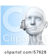 Royalty Free RF Clipart Illustration Of A 3d Customer Service Head Wearing A Headset Version 2