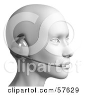 Royalty Free RF Clipart Illustration Of A 3d Customer Service Head Wearing A Headset Version 8