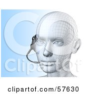 Royalty Free RF Clipart Illustration Of A 3d Customer Service Head Wearing A Headset Version 3