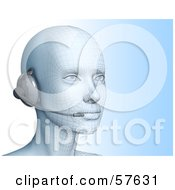Royalty Free RF Clipart Illustration Of A 3d Customer Service Head Wearing A Headset Version 1