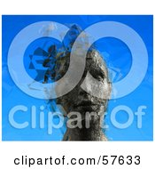 Royalty Free RF Clipart Illustration Of A 3d Womans Head With Floating Particles Version 3