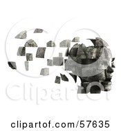 Royalty Free RF Clipart Illustration Of A 3d Womans Head With Floating Particles Version 6
