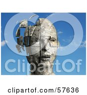 Royalty Free RF Clipart Illustration Of A 3d Womans Head With Floating Particles Version 1