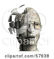 Royalty Free RF Clipart Illustration Of A 3d Womans Head With Floating Particles Version 5