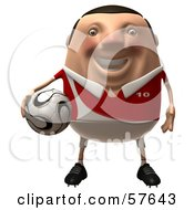 Royalty Free RF Clipart Illustration Of A 3d Chubby Soccer Steve Character Holding A Ball Version 1