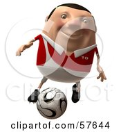 Royalty Free RF Clipart Illustration Of A 3d Chubby Soccer Steve Character Kicking A Ball Version 1 by Julos