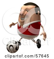Royalty Free RF Clipart Illustration Of A 3d Chubby Soccer Steve Character Kicking A Ball Version 2 by Julos