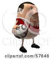 3d Chubby Soccer Steve Character Holding A Ball - Version 2