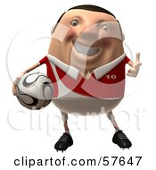 3d Chubby Soccer Steve Character Holding A Ball - Version 3