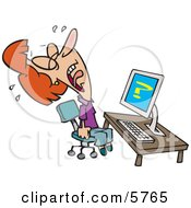 Woman Screaming And Crying In Frustration While Getting Computer Errors Clipart Illustration by toonaday