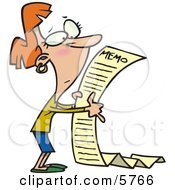 Woman Reading A Very Long Memorandum Clipart Illustration