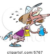 Exhausted Female Marathon Runner Drinking Water Clipart Illustration