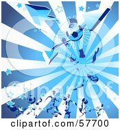 Royalty Free RF Clipart Illustration Of A Blue Background Of A Soccer Guy Kicking A Ball With Arrows Stars And Rays